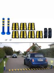 Bild av blå bil som kör över ett mjukt farthinder.