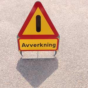 Varningskylt avverkning