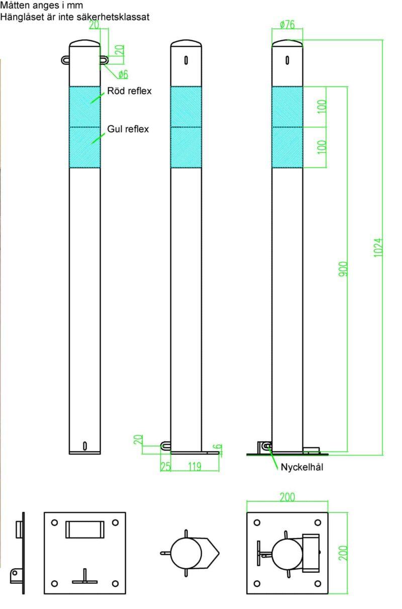 parkeringsstolpe med ögla och reflex ritning