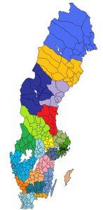 Bild med Sveriges kommuner utmarkerade.