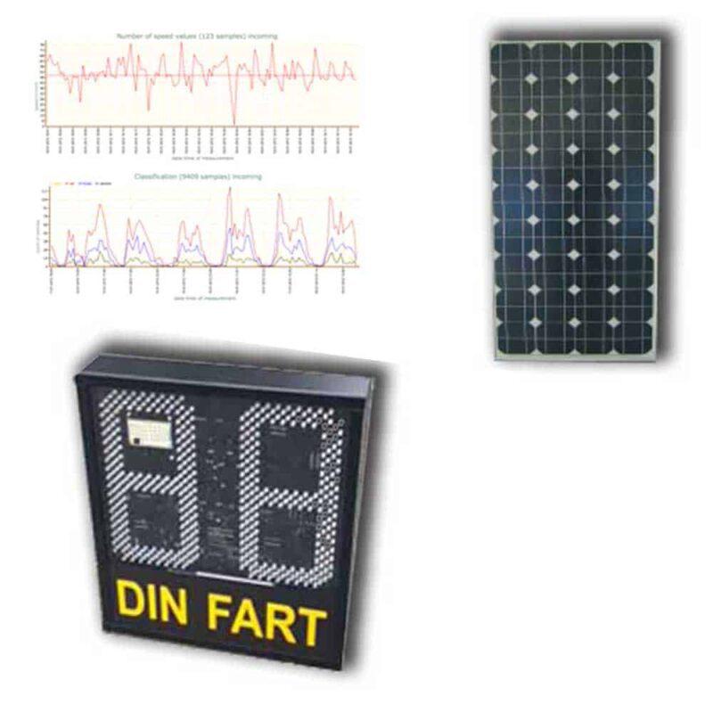 hastighetsdisplay med solcell och statistik
